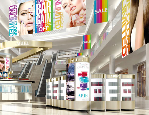 Large format printed samples at shopping mall