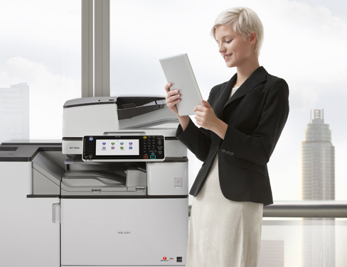 Woman-using-printer